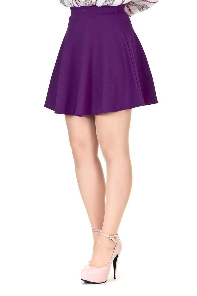 Basic Solid Stretchy Cotton High Waist A-line Flared Skater Mini Skirt (M, Purple)
