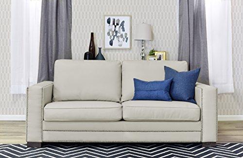 Contemporary Ivory Leather Sofa - Serta Mason 81