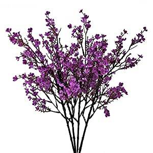 NAHUAA 4PCS Purple Babys Breath Artificial Flowers Fake Silk Real Touch Floral Bouquet Home Office Farmhouse Wedding Centerpiece Arrangements Decor for Vase 112