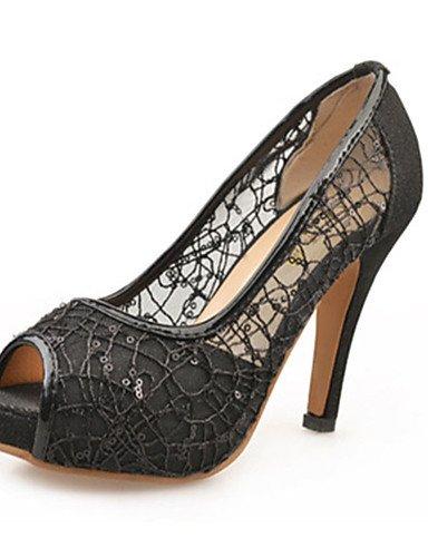 ZQ Zapatos de mujer-Tac¨®n Stiletto-Tacones-Tacones-Casual-Encaje-Negro / Oro , golden-us7.5 / eu38 / uk5.5 / cn38 , golden-us7.5 / eu38 / uk5.5 / cn38 black-us5.5 / eu36 / uk3.5 / cn35