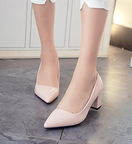 Mid Pink Easemax On Toe Work Solid Top Low Pumps Womens Heel Stylish Chunky Slip Pointed BxBzw4A6q