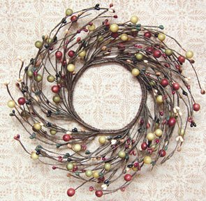 Primitive Combo Berry Mini Wreath Candle Ring Green Rust Cream Black Country Floral Décor