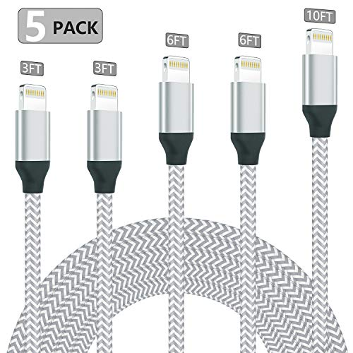 iPhone Cable MFi Certified Lightning Cable [5 Pack 3FT 3FT 6FT 6FT 10FT] Extra Long Nylon Braided USB Charger Syncing Cord Compatible iPhone Xs Xs Max XR X 8 8Plus 7 7Plus 6S 6S Plus SE iPad iPod (Cheap Ipod 5 Charger)