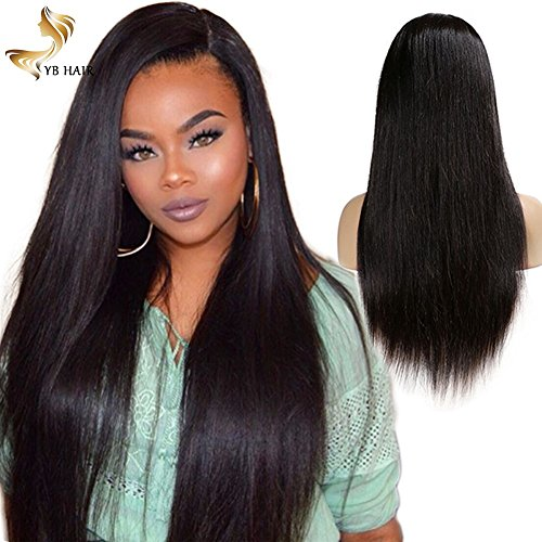 YB Hair 150% Lace Front Wigs Human Hair-brazilian Virgin hair Straight 150% dentisy Remy 8A Full Lace Human Hair with Baby Hair for Black Women straight 16'' in Stock by YB Hair