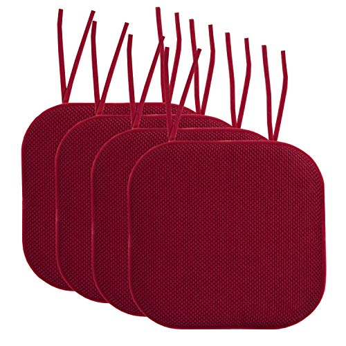 Sweet Home Collection Chair Cushion Memory Foam Pads with Ties Honeycomb Pattern Slip Non Skid Rubber Back Rounded Square 16