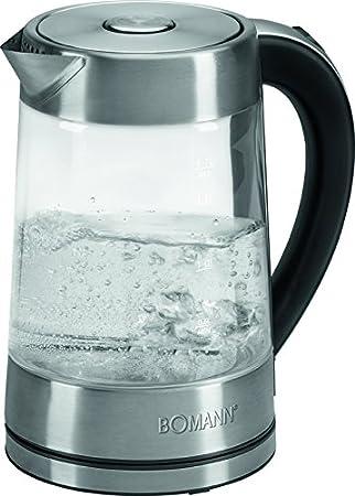 Bomann WK 5023 - Hervidor de agua eléctrico 1,7 litros, recipiente cristal sin