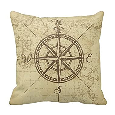 Decorative Square Pillow Case 18X18 Inches - Vintage Compass - Polyester Pillow Cover
