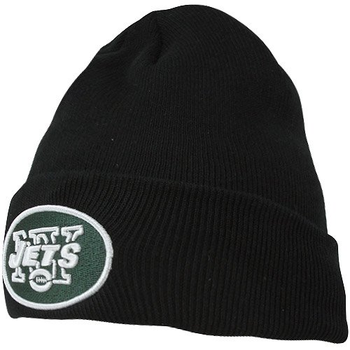NFL New York Jets '47 Raised Cuff Knit Hat, Black, One Size - New York Jets Knit Hat