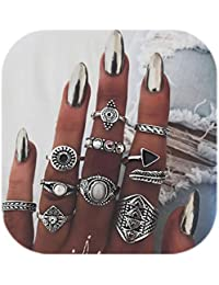 Knuckle Ring Set Vintage Carving Flower Turquoise Arrow Moon Boho Stackable Rings for women