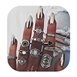 ZEALMER Vintage Knuckle Ring Set Women Statement leaves Arrow Moon Turquoise Joint Knuckle Rings