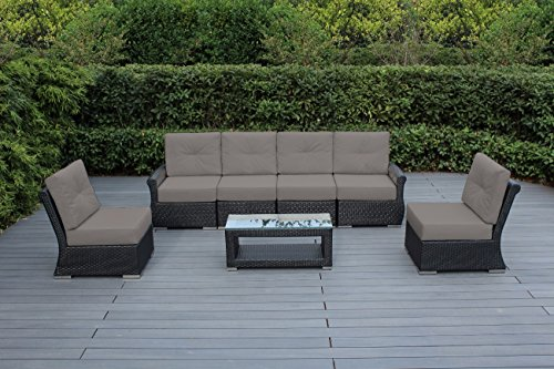 Ohana Luxury Outdoor Patio Furniture Collection 7 pc Tall back set with Sunbrella Cover (Sunbrella Taupe) with Free Patio Cover