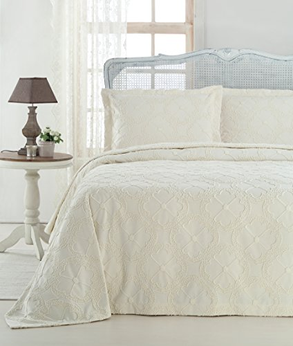 Gelin Home - 3 Piece 100% Chenille Luxurious Soft Quilted Embroidery Bedspread - Champagne - King Size - 102'' X 90'' by Gelin Home