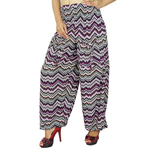 Multicolor Aladdin Harem pijama Boho gitanas pantalones cintura elástica con la bolsa del dinero Multicolore