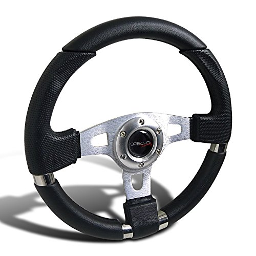 (Spec-D Tuning SW-103 340Mm JDM Racing Sport Aluminum Steering Wheel W/Black PVC Leather+Stitching)