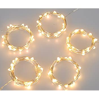 Improved Design With Timer Set Of 5 Micro LED 20 Warm White Lights Battery  Operated On