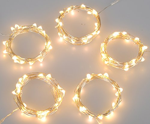 Improved Design with Timer Set of 5 Micro LED 20 Warm White Lights Battery Operated on 7ft Long Silver Color Ultra Thin String Wire, 6 hours on/18 hours off (Lights Timer With String)