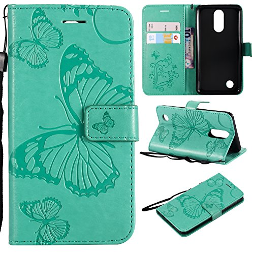 ARSUE LG K20 Case, LG K20 Plus Wallet Case,Leather Folio Flip PU Phone Protective Case Cover with Card Holder & Kickstand for LG K20/LG K20 Plus/LG K20 V/LV5/K10 2017/LG Harmony,Butterfly Mint Green