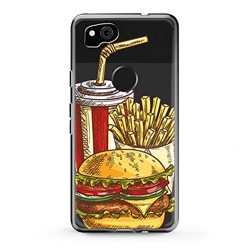 Lex Altern TPU Case Google Pixel 2 3 XL 2016 Tasty Meal Clear Fries Potatoes Phone Cheeseburger Pattern Cover Soft Silicone Print Yummy Protective Burger Cola Transparent Kids Girls Lady -