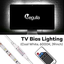 TV Bias Lighting, Megulla USB LED Light Strip with Wireless RF Remote for Computer Monitor Backlight, dimmable- True White Adhesive Strip -Small (39inch/1m)