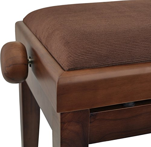 in legno di noce opaco Steinbach 401 Panchina per pianoforte con seduta in stoffa marrone
