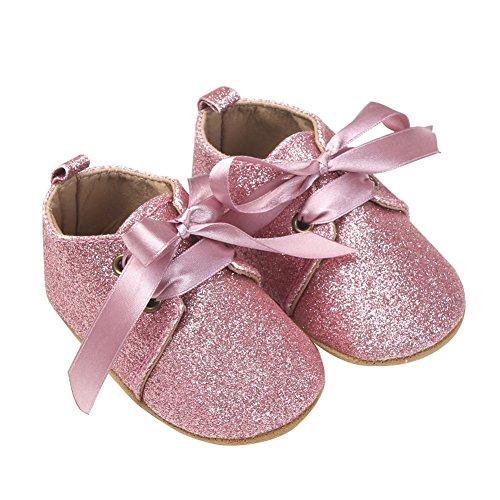 nicholco bebé niñas purpurina lazo zapatos para zapatos de soporte de princesa Golden Talla:12-18 meses rosa