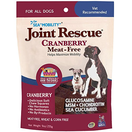 Image of Ark Naturals Sea Mobility Joint Rescue Chews, Cranberry, Increase Flexibility, Mobility and Joint Comfort, Vet Recommended for All Dog Breeds, Meat Free, 500 mg Glucosamine, 9 oz. Bag
