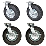 Service Caster - 12'' Black Pneumatic Rubber Wheel – 2 Swivel and 2 Swivel Casters w/Brakes - Set of 4