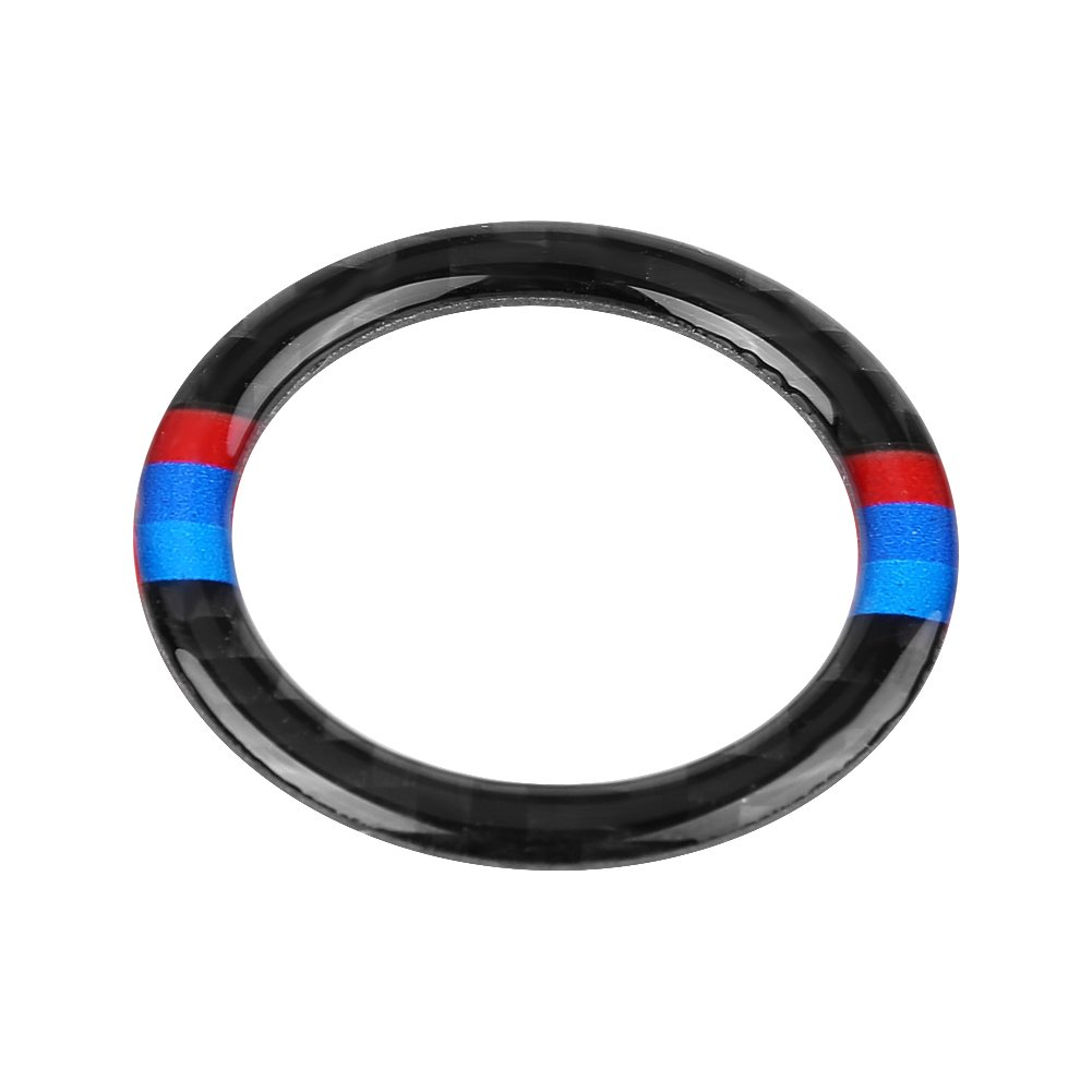 Car Carbon Fiber Engine Start Stop Ignition Key Ring, Interior Ignition Button Ring Cover Sticker Decoration for BMW E90/92/93 2009-2012(2#) Keenso
