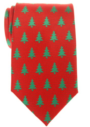 Retreez Christmas Tree Pattern Woven Microfiber Men's Tie - Red, Christmas Gift (Christmas Ties Tree)