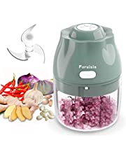 Foruisin Electric Mini Garlic Chopper(250ML), Wireless Portable USB Charging Garlic Chopper, Small Food Processor with Three Blade Powerful Blender for Onion, Peanut, Ginger, Chili, Carrot and more