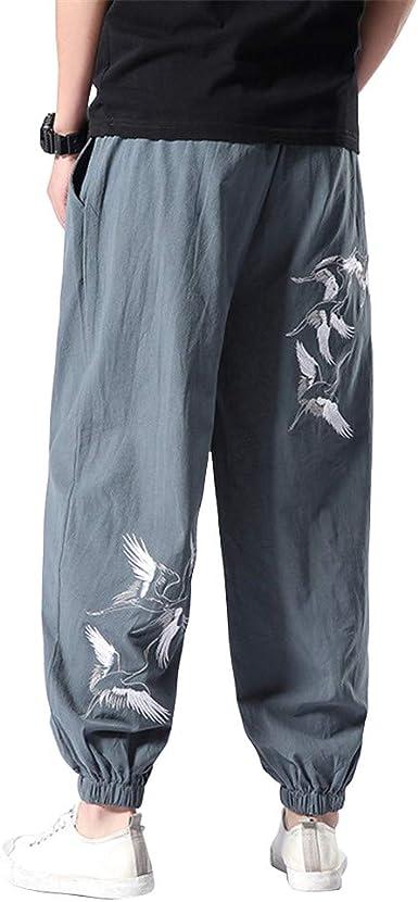 MISSMAOM_Fashion2019 Baggy - Pantalones de Escalada para Hombre Talla única algodón harén Pantalones Hippie Boho Pantalones,Gris Azul,XL