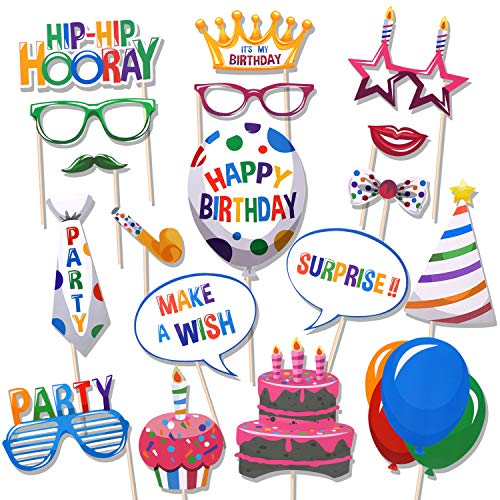 Konsait Happy Birthday Party Photo Booth Props with Sticks for Her Him Kids Funny Birthday Decorations, Happy Birthday Party Favors Supplies for Kids Adults Men and Women (18Counts)
