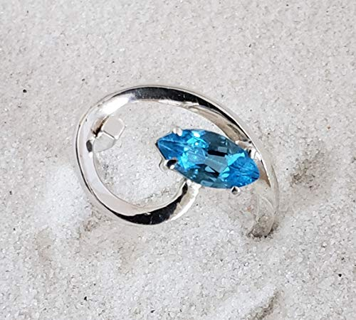 - Sterling Silver Swirl Ring with Brazilian Blue Topaz