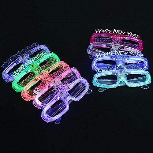 12 Piece Light Up Flashing Glasses Unisex LED Glasses For Adults & Children (Assorted Colors)- With Push On/Off Button for All Occasions (Happy - Happy Birthday Sunglasses