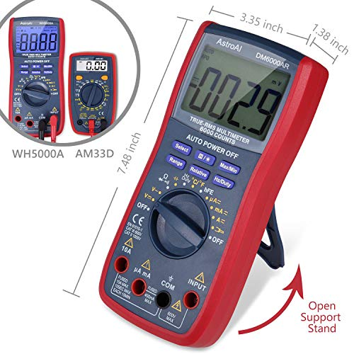 AstroAI Digital Multimeter, TRMS 6000 Counts Volt Meter Manual Auto Ranging; Measures Voltage Tester, Current, Resistance; Tests Diodes, Transistors, Temperature