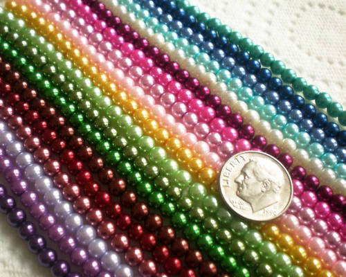 (Beading Station 500-Piece Mix Tiny Satin Luster Glass Pearl Round Beads, 4mm )