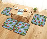 Chair Cushions Strawrries Daisies and Ladybugs Looks Like Ivy Plant Spotted Insects Non Slip Comfortable W25.5 x L25.5/4PCS Set