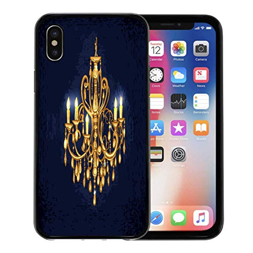- Semtomn Phone Case for Apple iPhone Xs case,Gold Golden Chandelier in Dark Room Candles Crystal Furniture Black for iPhone X Case,Rubber Border Protective Case,Black