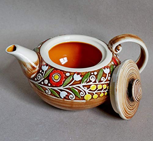 Orange teapot, Stoneware teapot ceramic, 30 oz, Rustic pottery teapot, Wedding anniversary gift, Tea kitchen gifts for mom, Colorful family teapot ()