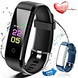 Fitness Trackers Waterproof - Fitness Watch with Heart Rate Blood Pressure Monitor, Activity Tracker with Sleep Monitor Calorie Counter, Pedometer Watch for Women Men Kids Compatible Iphone Android