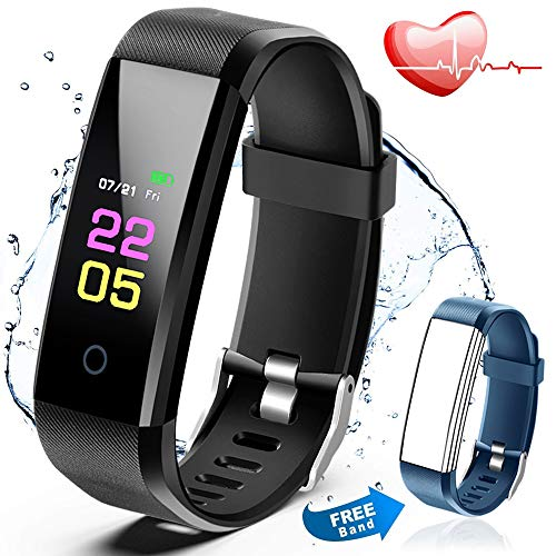 Fitness Tracker Waterproof - Activity Tracker Watch with Heart Rate monitor, Blood Pressure Smart Watch with Sleep Monitor, Calorie Step Counter Watch for kids Women Men Compatible Android iPhone