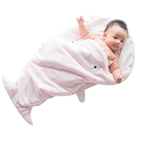 greforest Cartoon tiburón bebé saco de dormir forro polar Anti-Kicking bebé Swaddle