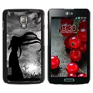 iKiki Tech / Estuche rígido - Long Hair Witch Bare Trees Spooky - LG Optimus L7 II P710 / L7X P714