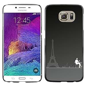 QCASE / Samsung Galaxy S6 SM-G920 / Paris Eiffel Art Cafe Tower City pintura café / Delgado Negro Plástico caso cubierta Shell Armor Funda Case Cover