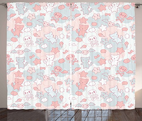 Ambesonne Doodle Curtains, Cartoon Styled Cats Bats and Skulls Japanese Inspired Kawaii Design, Living Room Bedroom Window Drapes 2 Panel Set, 108