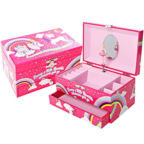 Jewelry Box for Girls, Unicorn Gifts for Girls, Girls Jewelry Box, Ballerina Music Box (Jewelry Boxes)