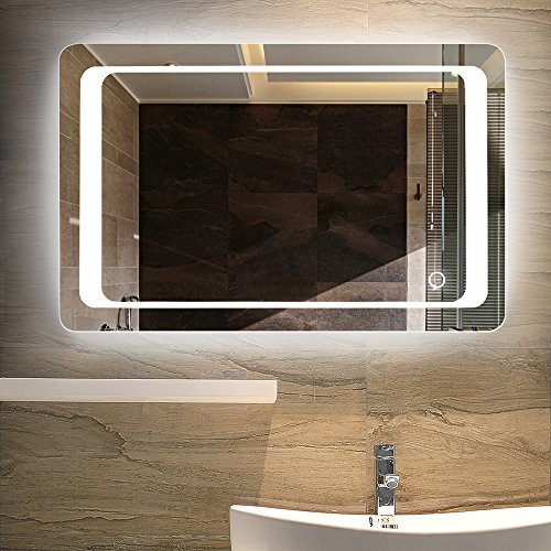 LINSGROUP Vanity Bathroom Home/Office LED Lighted Mirror Hanged Two-Way Frameless Backlit Wall Mirror Anti-Fog with Touch Button (36