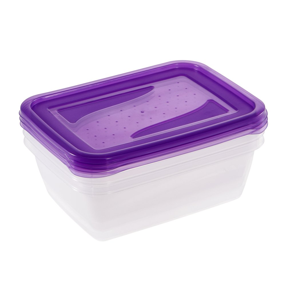keeeper Alimentos Caja Fredo Fresh 1 25L 3/Piezas 3/Piezas en Color Morado Rectangular