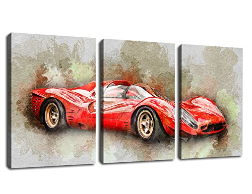 Canvas Wall Art Racing Car Painting Artwork Prints – 3 Pieces Canvas Art Automobile Race Sport Car Red Abstract Painting Framed and Ready to Hang for Home Decoration
