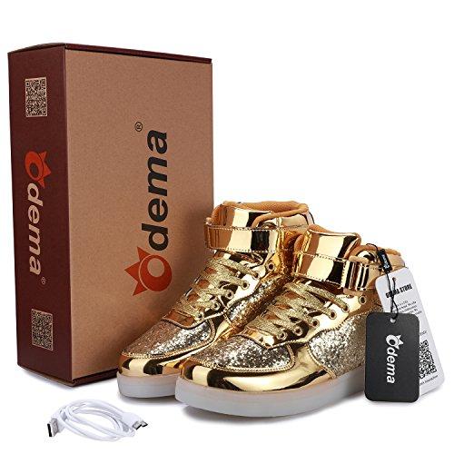 Scarpe Led Unisex Alte Traspiranti Sneakers Alte Traspiranti Accendono Le Scarpe Per Le Donne Uomini Ragazze Ragazzi Taglia 4,5-13 Brightgold
